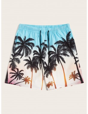Men Coconut Print Sweat Shorts