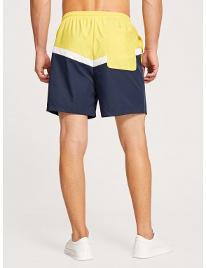 Men Drawstring Waist Color-block Shorts