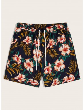 Men Drawstring Waist Botanical Print Shorts