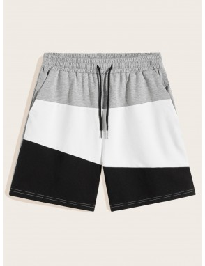 Men Drawstring Waist Color-block Track Shorts