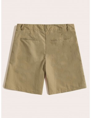 Men Button Fly Pocket Side Solid Shorts