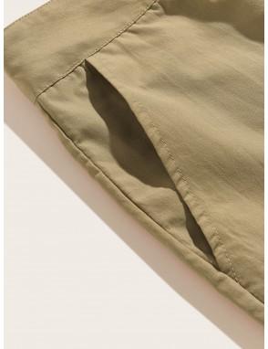 Men Button Fly Pocket Side Solid Shorts