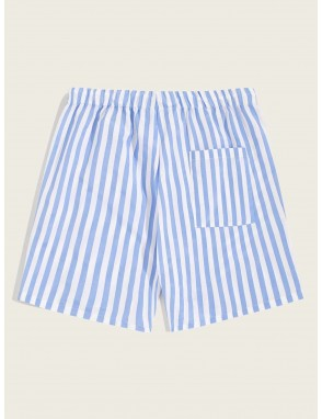 Men Drawstring Elastic Waist Striped Shorts