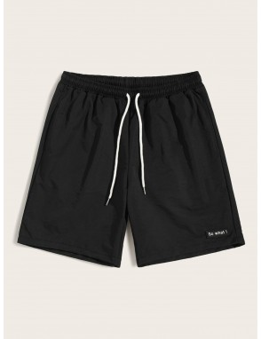 Men Drawstring Waist Patched Detail Shorts