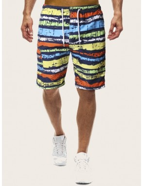 Men Brushstroke Print Drawstring Waist Bermuda Shorts