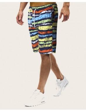 Men Brushstroke Print Drawstring Waist Bermuda Shorts