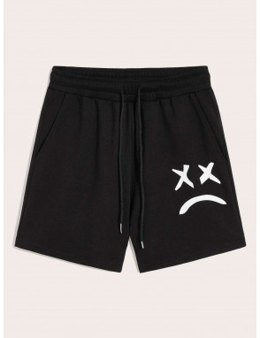 Men Drawstring Elastic Waist Side Pocket Shorts