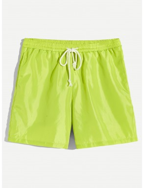 Men Pocket Patched Drawstring Neon Shorts
