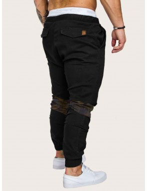 Men Contrast Camo Drawstring Waist Sweatpants