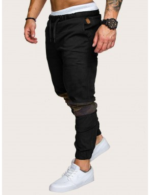 Men Contrast Camo Drawstring Waist Sweatpants