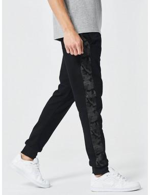 Men Camo Stripe Side Drawstring Pants