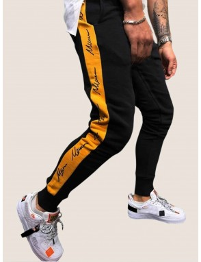 Men Contrast Panel Letter Print Sweatpants