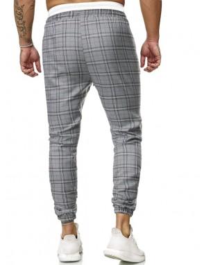 Men Drawstring Waist Plaid Pants