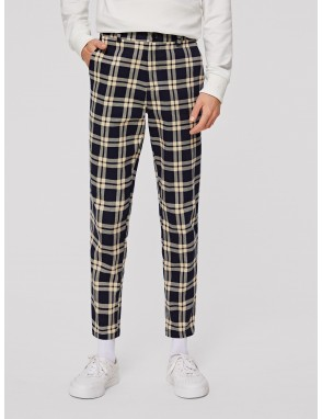Men Pocket Side Tartan Pants