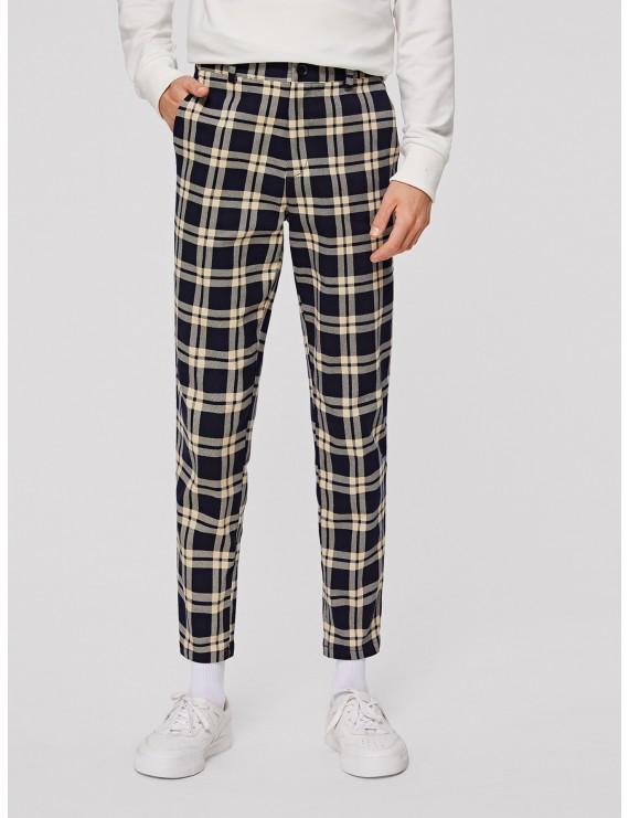 Men Pocket Side Tartan Pants