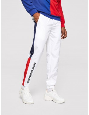 Men Color Block Side Letter Graphic Pants