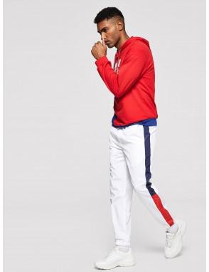 Men Color Block Side Letter Graphic Pants