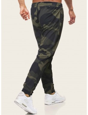 Men Camouflage Print Drawstring Waist Pants