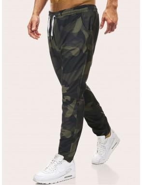 Men Camouflage Print Drawstring Waist Pants