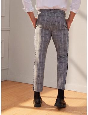 Men Contrast Tape Side Plaid Dress Pants