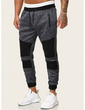 Men Contrast Panel Drawstring Sweatpants