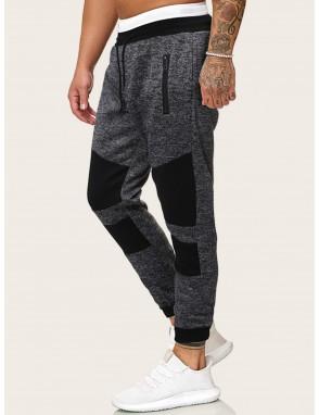 Men Contrast Panel Drawstring Sweatpants