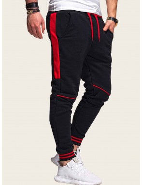 Men Contrast Tape Side Drawstring Waist Sweatpants