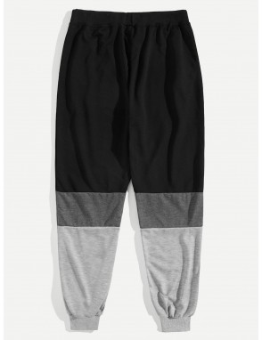 Men Cut And Sew Panel Drawstring Waist Pants
