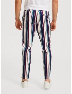 Men Drawstring Waist Slant Pocket Striped Pants
