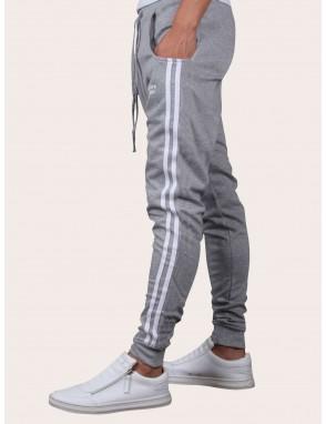 Men Drawstring Waist Side Stripe Pants