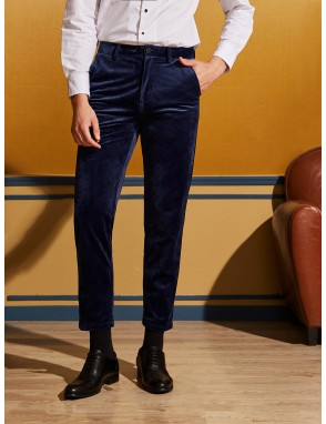 Men Button Fly Velvet Pants
