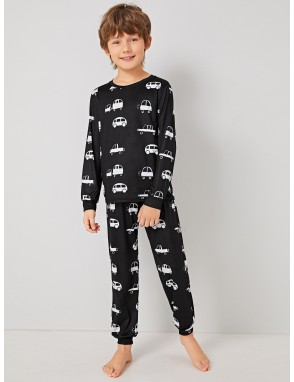 Boys Car Print Pullover & Pants PJ Set