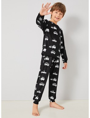 Boys Car Print Pullover & Pants PJ Set