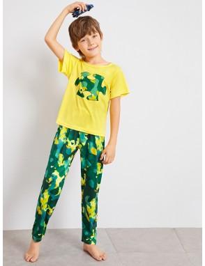 Boys Camo Print Pajama Set