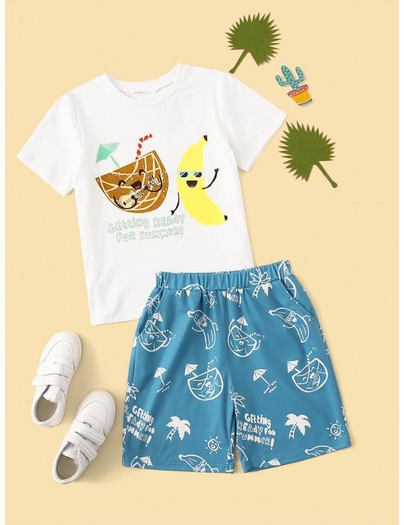 Boys Cartoon & Letter Print Tee & Shorts PJ Set