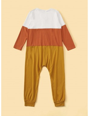 Boys Button Front Colorblock Sleep Jumpsuit