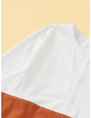 Boys Button Front Colorblock Sleep Jumpsuit