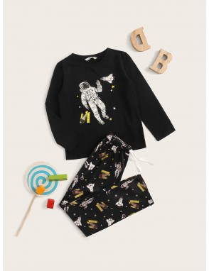 Boys Figure Print Top & Drawstring Waist Pants PJ Set