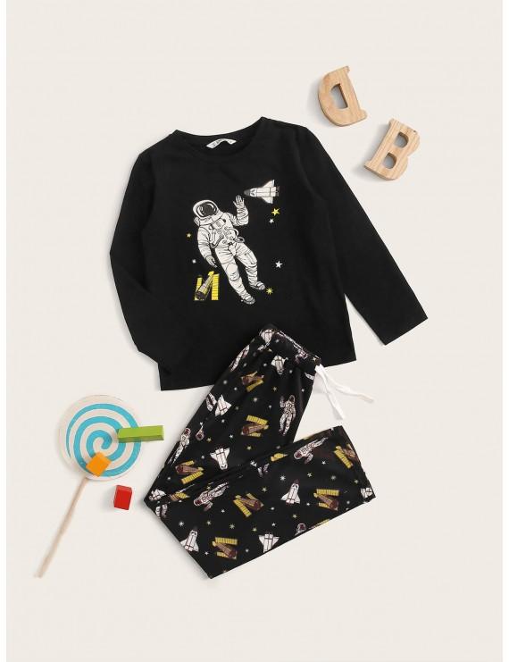 Boys Figure Print Top & Drawstring Waist Pants PJ Set