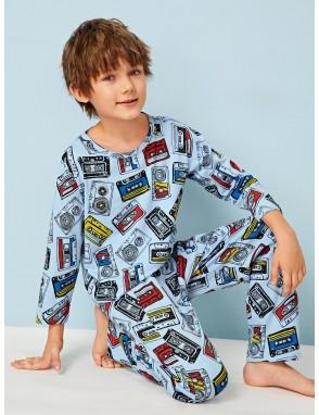 Boys Cartoon Magnetic Tape Print PJ Set
