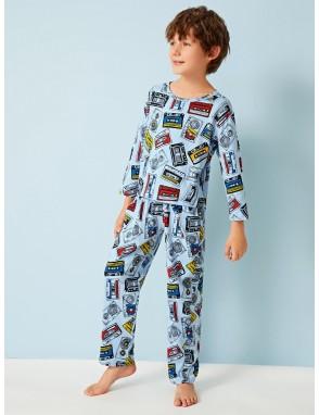 Boys Cartoon Magnetic Tape Print PJ Set