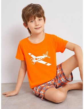 Boys Airplane Print Plaid Pajama Set