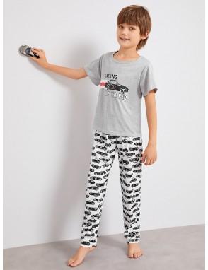 Boys Car & Letter Print Pajama Set