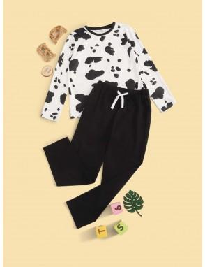 Boys Cow Print Top & Pants PJ Set