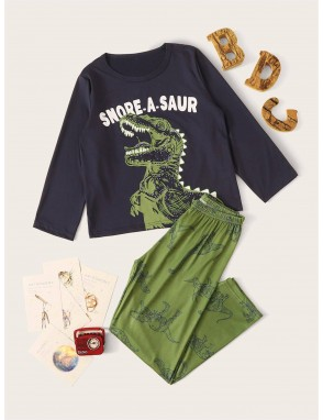 Boys Cartoon Dinosaur Print PJ Set
