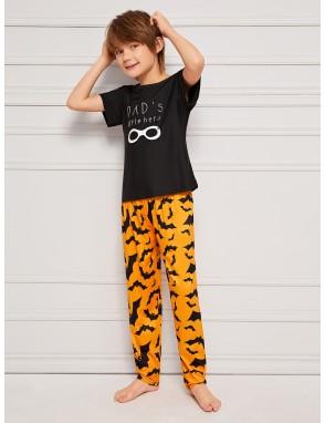 Boys Bat & Letter Print Pajama Set