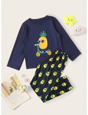 Boys Cartoon Pineapple Print PJ Set