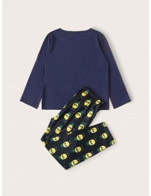Boys Cartoon Pineapple Print PJ Set