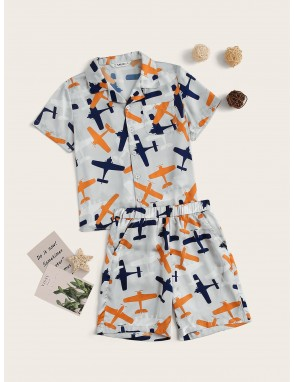 Boys Airplane Pocket Blouse & Shorts PJ Set