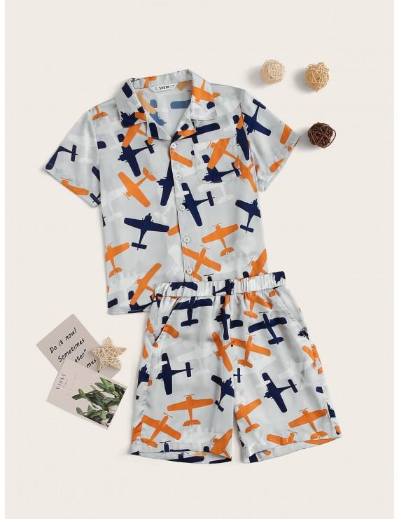 Boys Airplane Pocket Blouse & Shorts PJ Set
